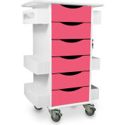 "TrippNT™ 51381 Core Medical Lab Cart - 6 Drawers 19"" x 23"" x 35"" Watermelon Pink"