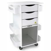 """TrippNT 51728SMOKE White MRI Core DX Lab Cart with Smoke Sliding Door 23""""W x 33""""H x 19""""D"""