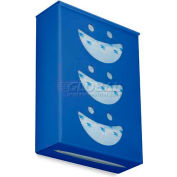 "TrippNT Ultimate Smiley Face Triple Dual Dispensing Glove Holder, 52105, 10""Wx4""D, Global Blue"