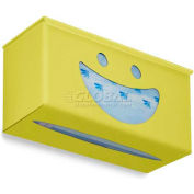 "TrippNT Ultimate Smiley Face Single Dual Dispensing Glove Holder, 10""Wx4""D, Bright Idea Yellow"