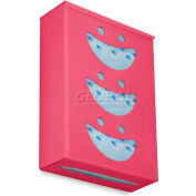 """TrippNT Ultimate Smiley Face Triple Dual Dispensing Glove Holder, 52144, 10""""Wx4""""D, Watermelon Pink"""