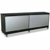 "TrippNT 52943 Large Black/Silver Polyethylene Mobile Lab Cabinet 94""W x 35""H x 24""D"