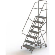 7 Step Steel Easy Turn Rolling Ladder, Serrated Tread, Safety Angle - KDAD107242