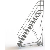 13 Step Steel Easy Turn Rolling Ladder, Serrated Tread, Safety Angle - KDAD113246