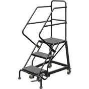 """3 Step 16""""W Steel Safety Angle Rolling Ladder, Perforated Tread, Gray - KDEC103166"""