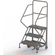 "3 Step 24""W Steel Safety Angle Rolling Ladder, Grip Strut, Gray - KDEC103242"