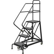 """4 Step 16""""W Steel Safety Angle Rolling Ladder, Perforated Tread, Gray - KDEC104166"""