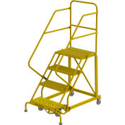 "4 Step 24""W Steel Safety Angle Rolling Ladder, Grip Strut, Safety Yellow - KDEC104242-Y"