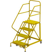 """4 Step 24""""W Steel Safety Angle Rolling Ladder, Perforated Tread, Safety Yellow - KDEC104246-Y"""