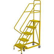 "5 Step 16""W Steel Safety Angle Rolling Ladder, Perforated Tread, Safety Yellow - KDEC105166-Y"