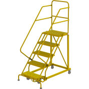 "5 Step 24""W Steel Safety Angle Rolling Ladder, Grip Strut, Safety Yellow - KDEC105242-Y"