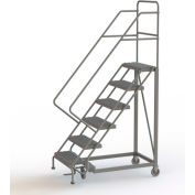 "6 Step 16""W Steel Safety Angle Rolling Ladder, Perforated Tread, Gray - KDEC106166"