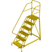 "6 Step 24""W Steel Safety Angle Rolling Ladder, Grip Strut, Safety Yellow - KDEC106242-Y"
