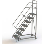 """7 Step 24""""W Steel Safety Angle Rolling Ladder, Perforated Tread, Gray - KDEC107246"""
