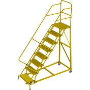 """8 Step 24""""W Steel Safety Angle Rolling Ladder, Grip Strut, Safety Yellow - KDEC108242-Y"""