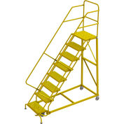 "8 Step 24""W Steel Safety Angle Rolling Ladder, Perforated Tread, Safety Yellow - KDEC108246-Y"