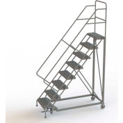 "8 Step 24""W Steel Safety Angle Rolling Ladder, Perforated Tread, Gray - KDEC108246"
