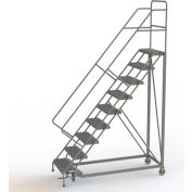 "9 Step 24""W Steel Safety Angle Rolling Ladder, Perforated Tread, Gray - KDEC109246"