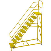 "10 Step 24""W Steel Safety Angle Rolling Ladder, Perforated Tread, Safety Yellow - KDEC110246-Y"