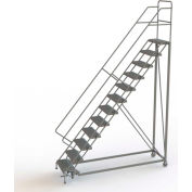 "12 Step 24""W Steel Safety Angle Rolling Ladder, Perforated Tread, Gray - KDEC112246"