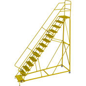 """14 Step 24""""W Steel Safety Angle Rolling Ladder, Grip Strut, Safety Yellow - KDEC114242-Y"""