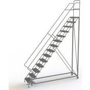 "14 Step 24""W Steel Safety Angle Rolling Ladder, Grip Strut, Gray - KDEC114242"