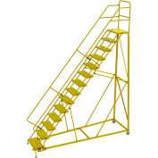 "14 Step 24""W Steel Safety Angle Rolling Ladder, Perforated Tread, Safety Yellow - KDEC114246-Y"