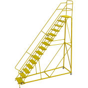 """15 Step 24""""W Steel Safety Angle Rolling Ladder, Perforated Tread, Safety Yellow - KDEC115246-Y"""