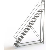 """15 Step 24""""W Steel Safety Angle Rolling Ladder, Perforated Tread, Gray - KDEC115246"""