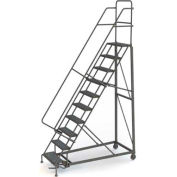 10 Step Perforated Strut 600 Lb. Cap. Heavy Duty Steel Rolling Ladder - KDHD110246