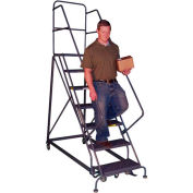 8 Step Heavy-Duty 600 Lb. Cap. Safety Angle Steel Rolling Ladder - Perforated