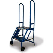 2 Step Folding Rolling Ladder Stand - Perforated Tread