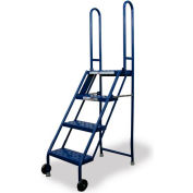 4 Step Folding Rolling Ladder Stand - Perforated Tread