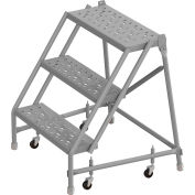 "3 Step 24""W 10""D Top Step Steel Rolling Ladder, Perforated Tread, No Handrail - KDSR003246"