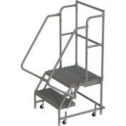 "2 Step 24""W 20""D Top Step Steel Rolling Ladder, Grip Strut Tread, 36"" Handrail - KDSR102242-D2"
