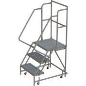"""3 Step 16""""W 10""""D Top Step Steel Rolling Ladder, Perforated Tread, 36"""" Handrail - KDSR103166"""