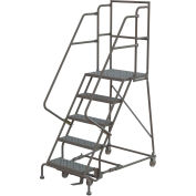 "5 Step 24""W 30""D Top Step Steel Rolling Ladder, Perforated Tread, 36"" Handrail - KDSR105246-D3"