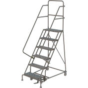 """6 Step 16""""W 10""""D Top Step Steel Rolling Ladder, Perforated Tread, 36"""" Handrail - KDSR106166"""