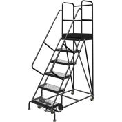"6 Step 24""W 30""D Top Step Steel Rolling Ladder, Grip Strut Tread, 36"" Handrail - KDSR106242-D3"