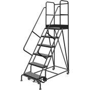 "6 Step 24""W 30""D Top Step Steel Rolling Ladder, Perforated Tread, 36"" Handrail - KDSR106246-D3"