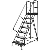 "7 Step 24""W 30""D Top Step Steel Rolling Ladder, Grip Strut Tread, 36"" Handrail - KDSR107242-D3"