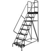 "8 Step 24""W 30""D Top Step Steel Rolling Ladder, Grip Strut Tread, 36"" Handrail - KDSR108242-D3"