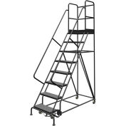 "8 Step 24""W 30""D Top Step Steel Rolling Ladder, Perforated Tread, 36"" Handrail - KDSR108246-D3"