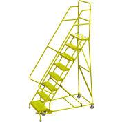 "Tri Arc Perforated 24""W 8 Step Steel Rolling Ladder, 10""D Top Step - KDSR108246-Y"