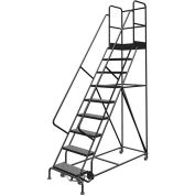 "9 Step 24""W 30""D Top Step Steel Rolling Ladder, Perforated Tread, 36"" Handrail - KDSR109246-D3"