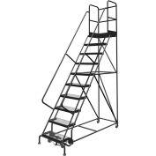 "10 Step 24""W 30""D Top Step Steel Rolling Ladder, Grip Strut Tread, 36"" Handrail - KDSR110242-D3"
