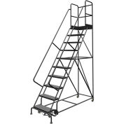 "10 Step 24""W 30""D Top Step Steel Rolling Ladder, Perforated Tread, 36"" Handrail - KDSR110246-D3"