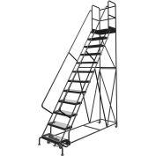 "12 Step 24""W 30""D Top Step Steel Rolling Ladder, Grip Strut Tread, 36"" Handrail - KDSR112242-D3"