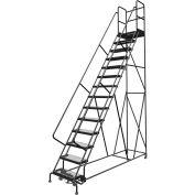 "14 Step 24""W 30""D Top Step Steel Rolling Ladder, Grip Strut Tread, 36"" Handrail - KDSR114242-D3"