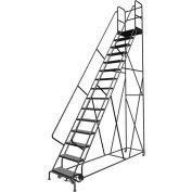 "15 Step 24""W 30""D Top Step Steel Rolling Ladder, Perforated Tread, 36"" Handrail - KDSR115246-D3"